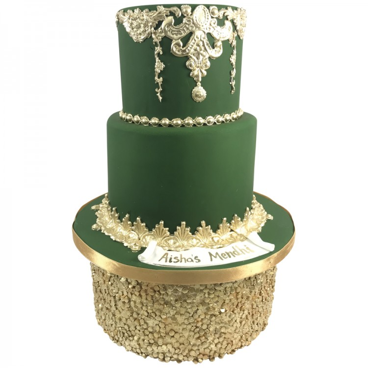 Outstanding Forest Green Mendhi Cake Call Us Now Leicester Personalised Birthday Cards Epsylily Jamesorg