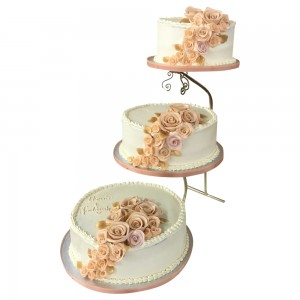 Peach Flowers Wedding Cake