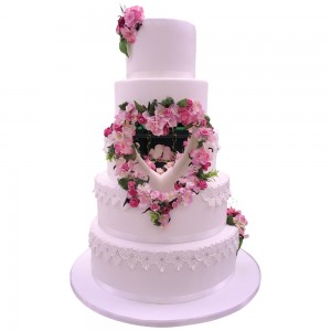 Flowered Heart Wedding Cake