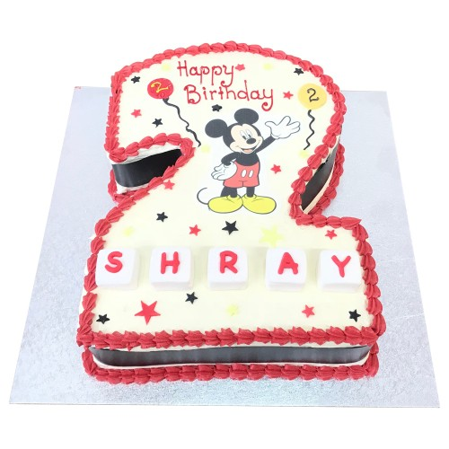 Mickey mouse number 2 shaped cake