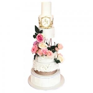 6 Tier Round Rose Gold Wedding Cake