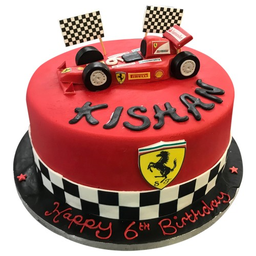 Red Formula 1 car topper cake