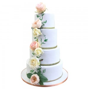 4 Tiers Peach Roses Trailing Wedding Cake