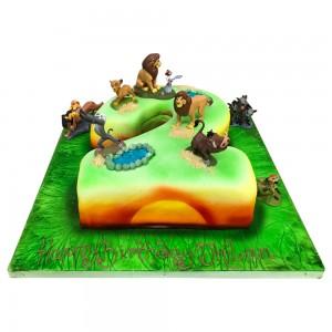 Number 2 Shape Lion King Cake