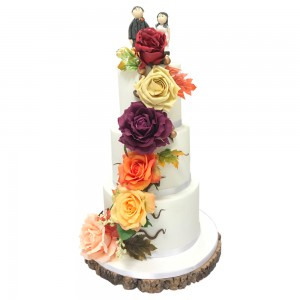 3 tier round peony trail wedding cake