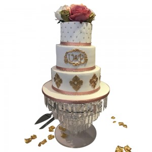 3 tier white and rose gold wedding cake