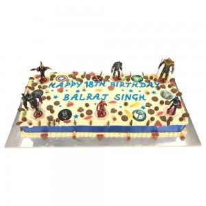 Avengers Toppers Buttercream Slab Cake