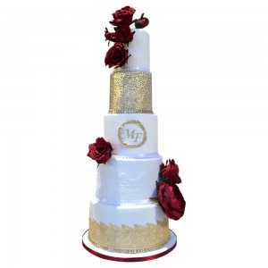 5 tier Round Red and Gold Wedding cake