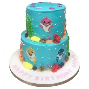 2 tier buttercream baby shark cake