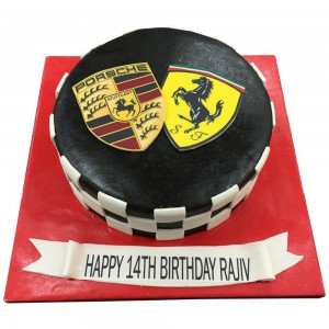 Ferrari and Porsche Logo Cake