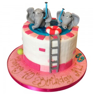 Elephants in Swimming pool Cake