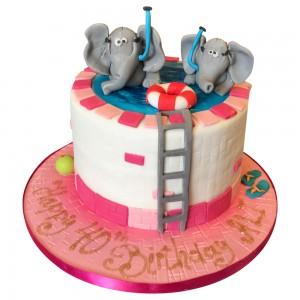 Elephants in Swimming pool Cake