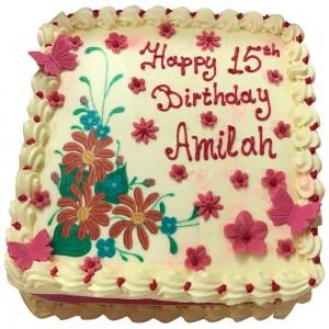 Floral Print Buttercream Cake