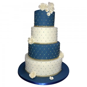 4 tier round blue and white wedding cake