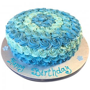 Blue Buttercream Swirl Cake