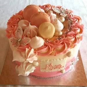 Pink macaroon meringue cake