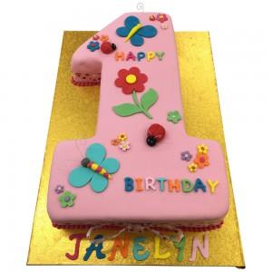 Pink Number 1 Shape Cake