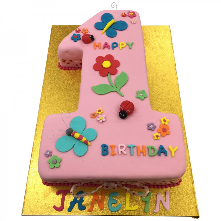 Pink Number 1 Shape Cake