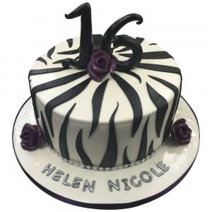 Zebra Print 16th Cake