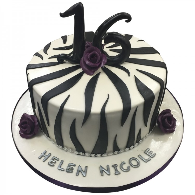 Strange Zebra Print Cake 16Th Girls Birthday Cakes Online Funny Birthday Cards Online Overcheapnameinfo
